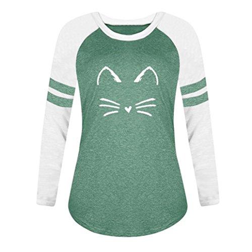 Tops Vert Femmes Shirt Longues Chat T Dames Manches Blouse MORCHAN Impression OHC8q