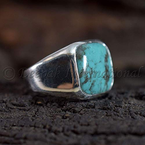 Solid 925 Sterling Silver Jewelry, Tibetan Turquoise Ring, Statement Ring, Tibetan Turquoise Man's Ring, Wedding Ring, Handmade Rings, Jewelry For Gift, Square Shape Gemstone Ring