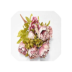 Old street 13 Heads/Bouque Christmas Artificial Flowers Silk Flower European Fall Vivid Peony Fake Leaf Wedding Home Party Decoration,Bean Sand 44
