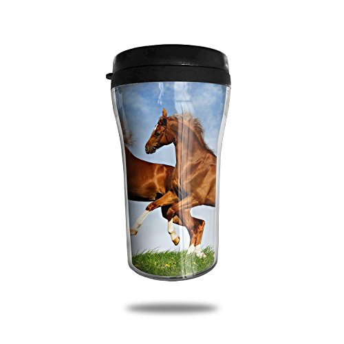 XKFBLL Two Horses Frolic On The Plain Spring Time Personalized Custom 250ml Coffee Cup Tea Mug Travel Vacuum Mugs Drink ()