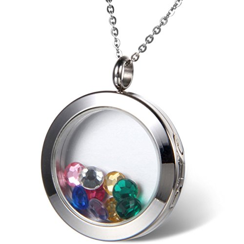 Oidea Womens Living Memory Stainless Steel Round Floating Charm Circle Memory Locket Pendant Necklace, Silver Color