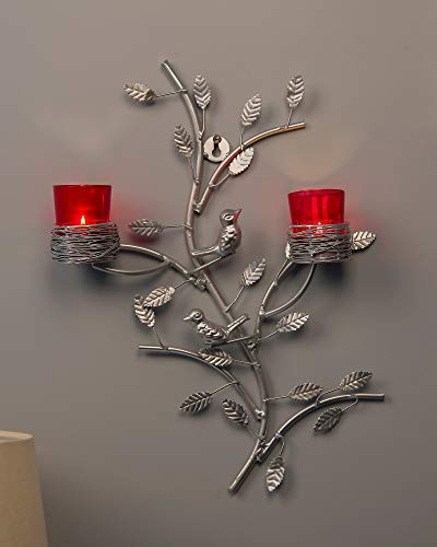 Silver Tree with Bird Nest Votive Stand Red, Wall Candle Holder and Tealight Candles ()