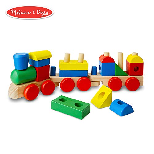 Melissa & Doug Stacking Train (Classic Wooden Toddler Toy, 18 Pieces)