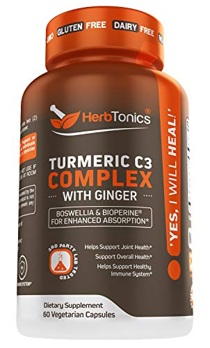 Turmeric Curcumin C3 Complex Supplement with Ginger Root, Boswellia and Bioperine (Black Pepper) for Enhanced Absorption 60 Vegetarian Capsules Non-GMO for Men and Women