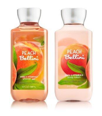 Bath & Body Works PEACH BELLINI Gift Set -- Body Lotion (8 Oz) and Shower Gel (10 Oz)