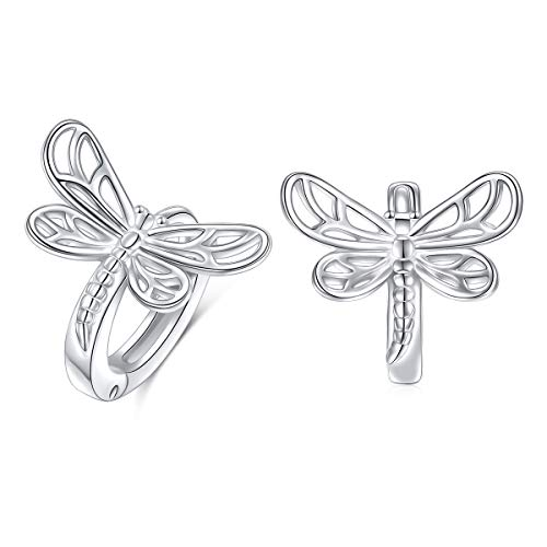 Dragonfly Silver Earring - SILVER MOUNTAIN S925 Sterling Silver Hypoallergenic Huggie Dragonfly Hoop Earrings for Women Teen Girls Birthday Graduation Ear Jewelry Gifts (Dragonfly Small Hoop Earrings)