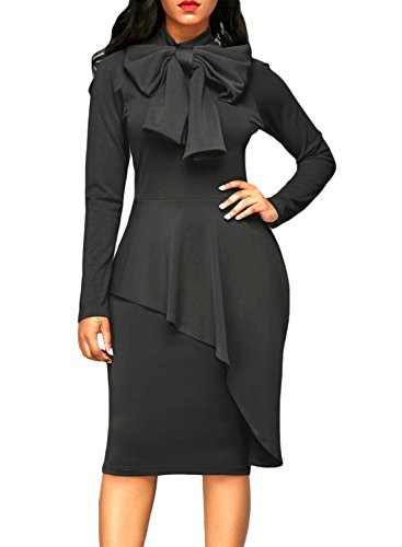 Dokotoo Womens Plus Size Special Occasion Amazon Modest Ladies High Neck Long Sleeve Ruffle Peplum Knee Length Bodycon Midi Pencil Cocktail Dresses Grey Medium