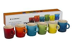 Le Creuset PG8056HB-01MC Stoneware Espresso Mugs, Set of 6, Rainbow Assortment Color