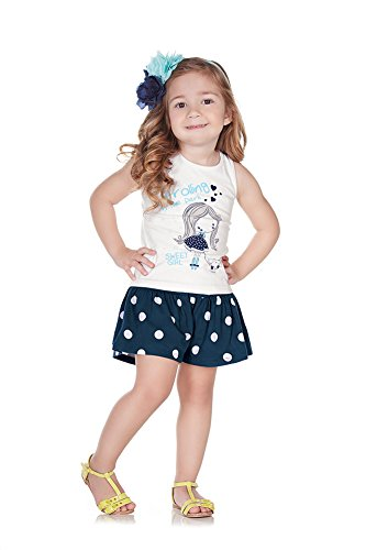 Pulla Bulla Toddler Girl Set Tank and Shorts Outfit Size 4T Navy - Old Shorts Blue Navy
