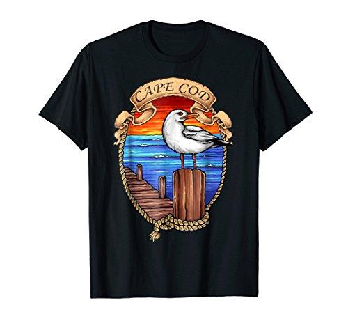 Cape Cod Beach Seagull Surf Sunset Pier T-Shirt (Sea Gull Cape)