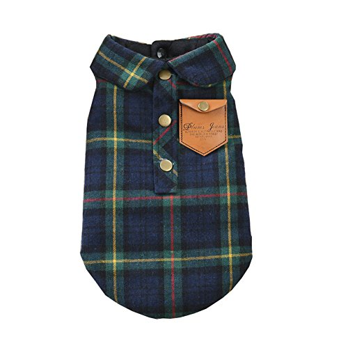 Mummumi Small Pet Dog Clothes , Pet Puppy Autumn Warm England Plaid Double Layer Flannel Plaid Shirt Thick Cotton Padded Winter Clothes Cat Soft T Shirt For Pet Dog Yorkshire Chihuahua (S, Green) (Ewok Puppy)