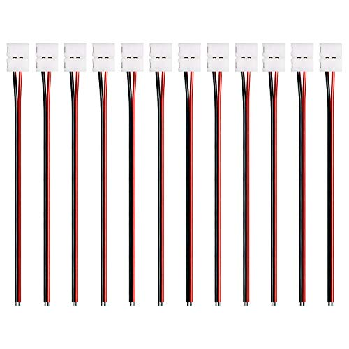 JACKYLED 12pcs Pack Strip Wire Solderless Snap Down 2Pin Conductor for 3528 LED Strip Lights 8mm