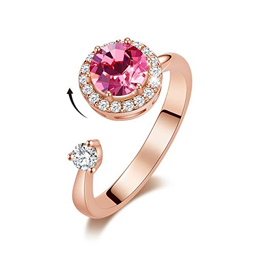 CDE Birthstone Rings for Women Rose Gold Plated Embellished with Crystals from Swarovksi Open Expandable Design Fit Size for 6-8,Pink Jewelry Gift for Mothers Day
