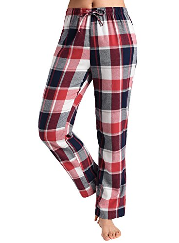 (Latuza Women's Pajama Pants Cotton Lounge Pants Plaid PJs Bottoms L Red & White)