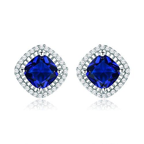 MASOP Party Studs Royal Blue 8mm Cushion Cut Zircon Earrings Silver Tone (Silver Cut Stone Earring)