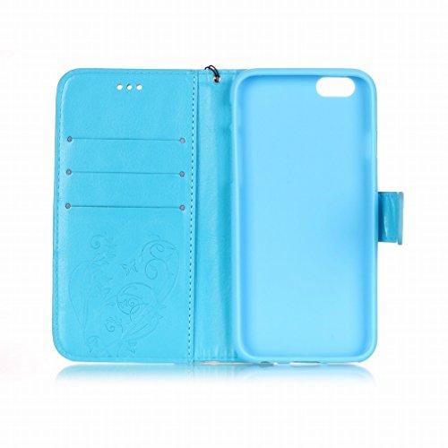 Yiizy Apple Iphone 6 / 6s Hülle, Schmetterlingsdruck Entwurf PU Ledertasche Klappe Beutel Tasche Leder Haut Schale Skin Schutzhülle Cover Case Stehen Kartenhalter Stil Bumper Schutz (Blauen)