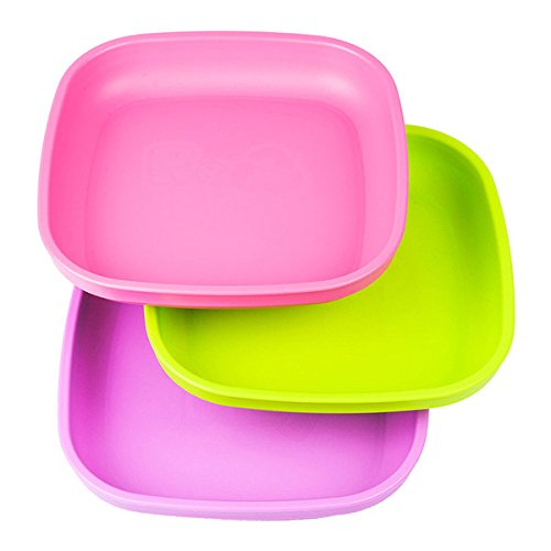 Re-Play Made In USA 3pk Plates with Deep Sides for Baby, Toddler - Bright Pink, Green & Purple (Butterfly)