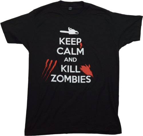KEEP CALM AND KILL ZOMBIES Adult Unisex T-shirt / Zombie Hunting Walking Dead Tee, Black, XXXX-Large