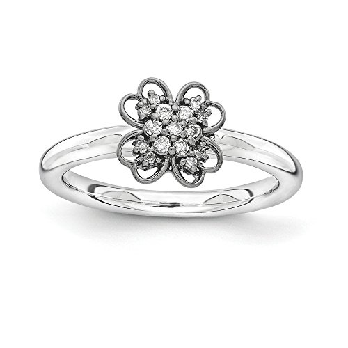 Sterling Silver & Black-plated Stackable Expressions Diamond Flower Ring Size 5 by Jewels By Lux
