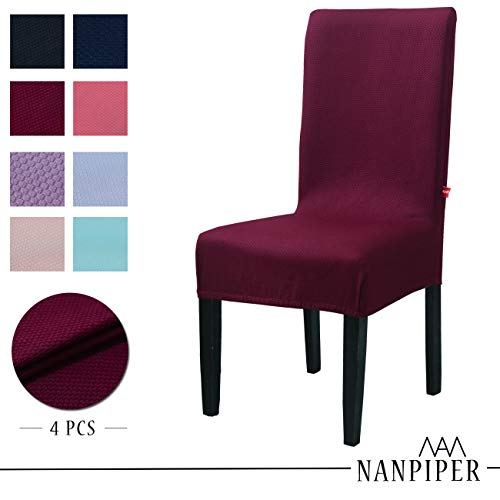 Set Room Bed Dining (NANPIPER Chair Covers for Dining Room Set of 4 Wine Red Spandex Stretch Dining Chair Slipcovers)