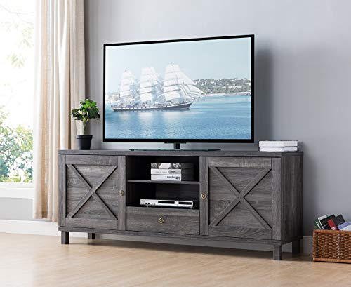 SMART HOME 182290 Farmhouse Modern Tv Stand Entertainment Center Media Console (Distressed Grey Color) TV Stands fits up to 75-inch TV TV
