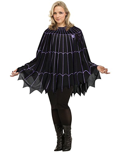 Fun World Women's Spider Web Poncho Plus Size Costume Black/Purple, Multi, Standard