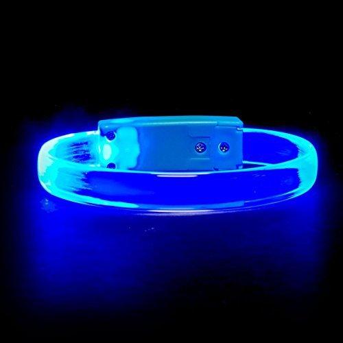 Glow Maker Bright LED Light Up Wristbands/Bracelets (Pack of 4) (Black/White) -