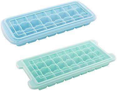 WuMin 製氷金型、蓋付きシリコンアイストレー2個アイスボックス、フレッシュボックスアイスキューブモールドアイスキューブボックス24グリッド (Color : Blue)
