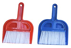 Set of 2 Small Nesting Dust Pans with Brooms, Assorted Colors
