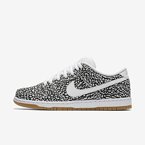 Nike Herren Dunk Low Premium Ankle-High Leder Fashion Sneaker Weiß, Weiß-Schwarz-Gummi Lt Brown