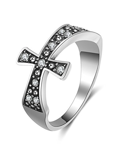 - XZP Vintage Style Religion Christian Cross Band Ring Made with Swarovski Crystal (8.5)