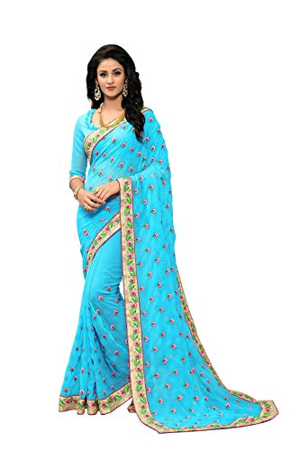 - Online Fayda Women's Georgette Embroidered Saree with Blouse Piece - OF291_Blue_Free Size