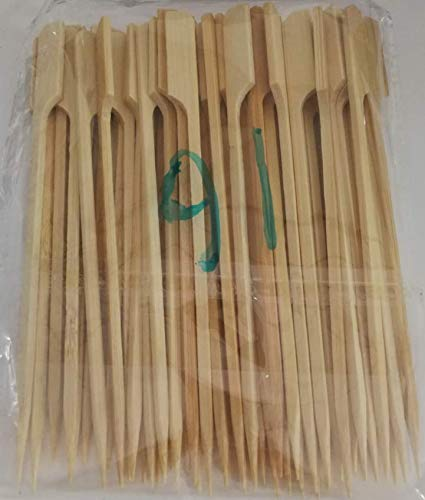 PuTwo Fork Toothpicks 300 Counts Bamboo Skewers 5.9 Inch Toothpick Forks for Appetizers Food Picks Party Wooden Appetizer Toothpick Forks Fruit Picks for BBQ Party Cocktail Skewers for Cocktail Party (Foods Cocktail Party)