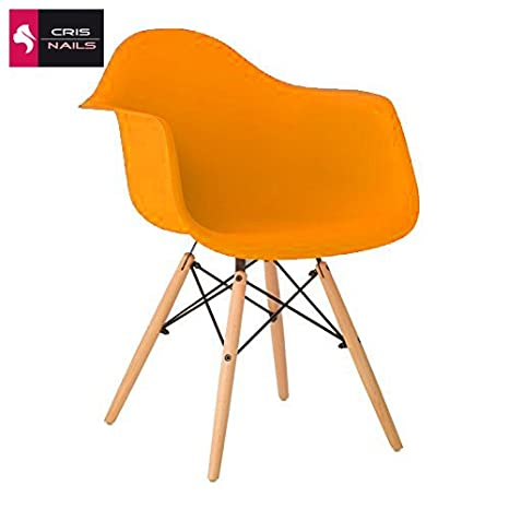 Crisnails ® Silla con Reposabrazos, Polipropileno y Madera de Haya Moderno para Oficina, Salon (Naranja)