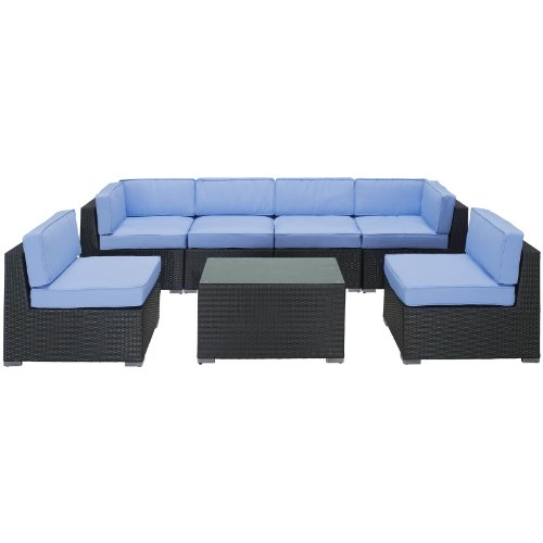 LexMod Aero Outdoor Wicker Patio 7-Piece Sectional Sofa Set in Espresso with Light Blue Cushions