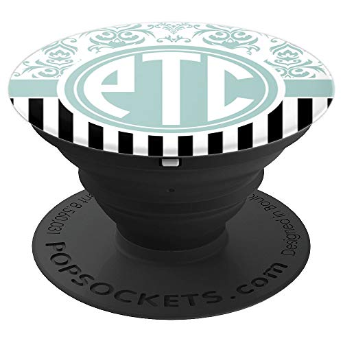PTC Monogram Phone Grip Blue Damask Initials PTC or PCT - PopSockets Grip and Stand for Phones and Tablets