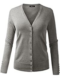 BILY Women's V-Neck Button Down Long Sleeve Soft Classic Knit Cardigan