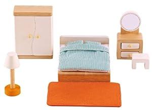 picture of Hape Wooden Doll House Furniture Master Bedroom Set
