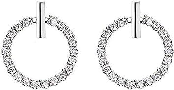 Aretes Colgantes Aretes Círculo Oreja Tornillos Círculo de Calidad S925 Arete de Plata Esterlina Pin Circular Aretes con Diamante Plata, Thumby