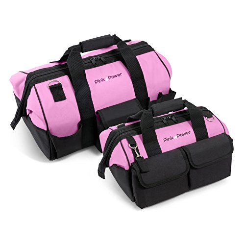 Pink Power Women's Tool Bag Combo with Shoulder Strap and Wide Mouth Storage (16 inch and 20 inch)