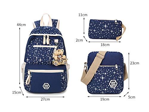 Di Sacchetti Borsa Viaggio Myll Spalla Ragazza Crossbody Messenger Tre Purple Bag green Bags star Scuola A Tela Zaino Stampa C5xgdqwg