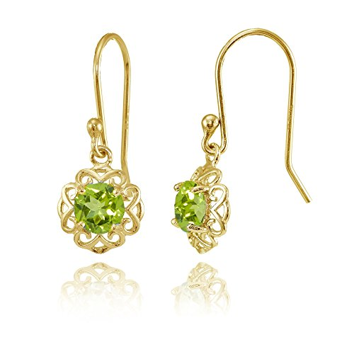 - Yellow Gold over Sterling Silver Peridot Round Filigree Dangle Earrings