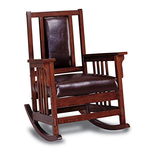 Luxury Mission Style Rocking Chair Brown Solid Craftsman Modern Contemporary Faux Leather Wood Oak Finish