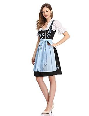Clearlove Women German Dirndl Dress Costumes for Bavarian Oktoberfest Halloween Carnival