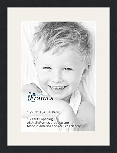 ArtToFrames 13 x 19 Inch Opening Single Mat with a Satin Black 1.25'' Wide Picture Frame, 2'' Super White Mat