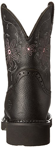 Justin Boots Womens Zigeuner Collectie Ronde Neus Westernlaars - 8 Inch Black Pebbled Grain