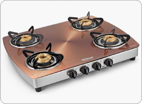 Sunflame Crystal Metal Art 4B Ss Copper Crystal Metal Art 4 Burner - Copper Glasstop Ss Gas Stove by Sunflame