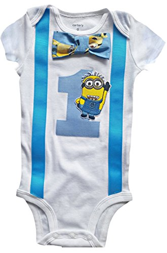 Baby Boys 1st Birthday Outfit - Minions Bodysuit, Blue-white-yellow, 18M-Short -