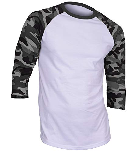 (DREAM USA Men's Casual 3/4 Sleeve Baseball Tshirt Raglan Jersey Shirt White/Dk Gray Camo 2XL)