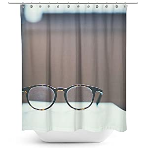 Westlake Art - Glasses Frame - Fabric Printed Shower Curtain - Picture Photography Waterproof Mildew Resistant Hook Bathroom - Machine Washable 71x74 Inch (9B625)